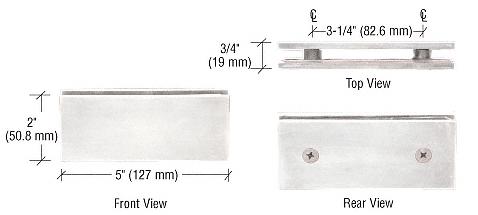 CRL Satin Chrome Square 180 Degree Glass-to-Glass Clamp CRL SGC180SC