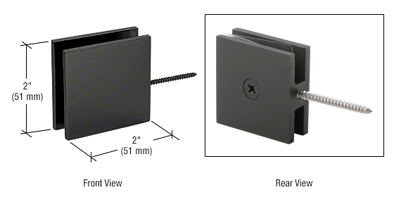 CRL Black Square Wall Mount Movable Transom Clamp CRL SGC186BL