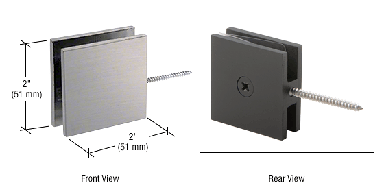 CRL Brushed Nickel Square Wall Mount Movable Transom Clamp CRL SGC186BN