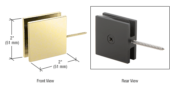CRL Polished Brass Square Wall Mount Movable Transom Clamp CRL SGC186BR
