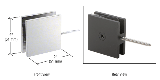 CRL Brushed Satin Chrome Square Wall Mount Movable Transom Clamp CRL SGC186BSC