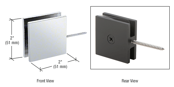 CRL Polished Chrome Square Wall Mount Movable Transom Clamp CRL SGC186CH