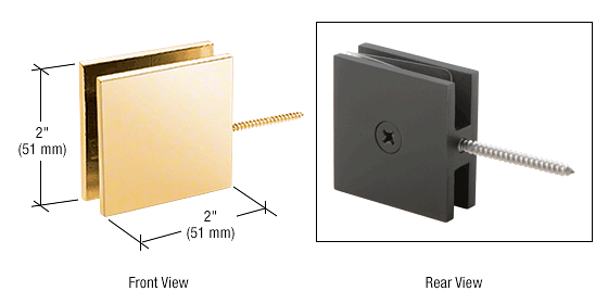CRL Gold Plated Square Wall Mount Movable Transom Clamp CRL SGC186GP