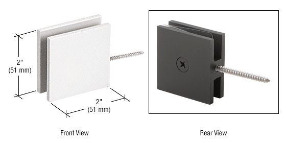 CRL White Square Wall Mount Movable Transom Clamp CRL SGC186W