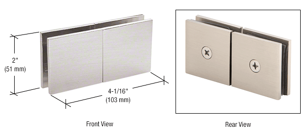 CRL Brushed Satin Chrome Square 180 Degree Glass-to-Glass Movable Transom Clamp CRL SGC188BSC