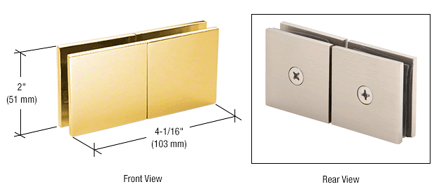 CRL Gold Plated Square 180 Degree Glass-to-Glass Movable Transom Clamp CRL SGC188GP