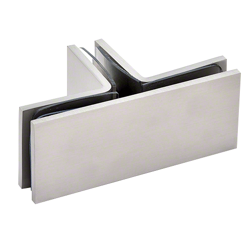 CRL Brushed Nickel Square 90 Degree Glass-to-Glass T-Juntion Clamp CRL SGC90TBN