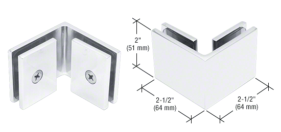 CRL White Square 90 Degree Glass-to-Glass Clamp CRL SGC90W