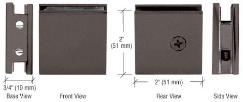 Oil Rubbed Bronze Square Style Notch-in-Glass Fixed Panel U-Clamp - CRL SGCU1ORB