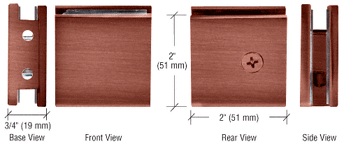 CRL Antique Brushed Copper Square Style Notch-in-Glass Fixed Panel U-Clamp CRL SGCU1ABC0