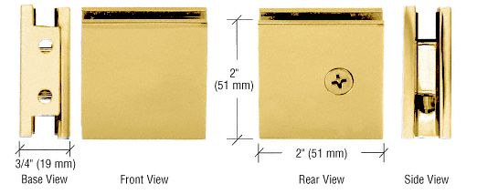 CRL Brass Square Style Notch-in-Glass Fixed Panel U-Clamp CRL SGCU1BR