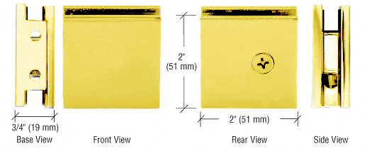 CRL Gold Plated Square Style Notch-in-Glass Fixed Panel U-Clamp CRL SGCU1GP