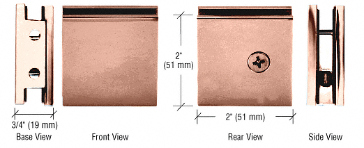 CRL Polished Copper Square Style Notch-in-Glass Fixed Panel U-Clamp CRL SGCU1PC0