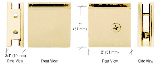 CRL Satin Brass Square Style Notch-in-Glass Fixed Panel U-Clamp CRL SGCU1SB