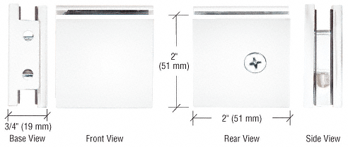 CRL White Square Style Notch-in-Glass Fixed Panel U-Clamp CRL SGCU1W