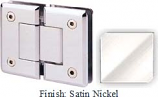 Satin Nickel Sis 785 Series Beveled with Round Edges 180 Degree Glass-To-Glass Hinge - SI785A_SN
