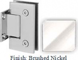 Brushed Nickel Sis 787 Series with Square Edges Wall Mount Short Back Plate Hinge - SI787C_BN