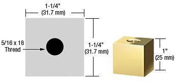 "CRL Brass 1-1/4"" Square Standoff Base 1"" in Length CRL SQ1251BR"