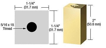 "CRL Brass 1-1/4"" Square Standoff Base 2"" in Length CRL SQ1252BR"