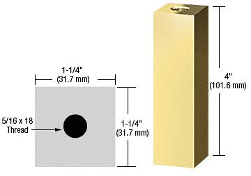 "CRL Brass 1-1/4"" Square Standoff Base 4"" in Length CRL SQ1254BR"