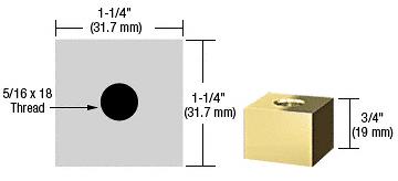 "CRL Brass 1-1/4"" Square Standoff Base - 3/4"" in Length CRL SQ12575BR"