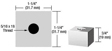 "CRL Chrome 1-1/4"" Square Standoff Base - 3/4"" in Length CRL SQ12575CH"
