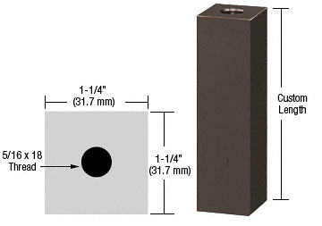 "CRL Oil Rubbed Bronze 1-1/4"" Square Standoff Base Custom Length CRL SQ125C0RB"