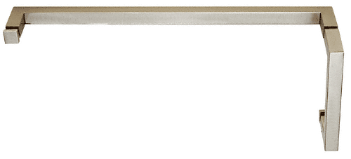 "CRL Brushed Nickel ""SQ"" Series Combination 6"" Pull Handle 18"" Towel Bar CRL SQ6X18BN"