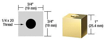 "CRL Brass 3/4"" Square Standoff Base 1"" Long CRL SQ751BR"