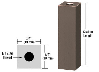 "CRL Oil Rubbed Bronze 3/4"" Square Standoff Base Custom Length CRL SQ75C0RB"