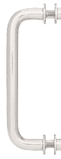 "CRL Brushed Nickel 8"" Single-Sided Solid Brass 3/4"" Diameter Pull Handle with Metal Washers CRL SSP8BN"