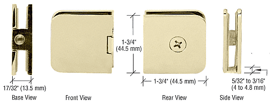 CRL Polished Brass Junior Traditional Style Fixed Panel U-Clamp CRL UC66BR