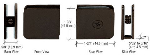Oil Rubbed Bronze Traditional Style Fixed Panel U-Clamp - CRL UC77ORB