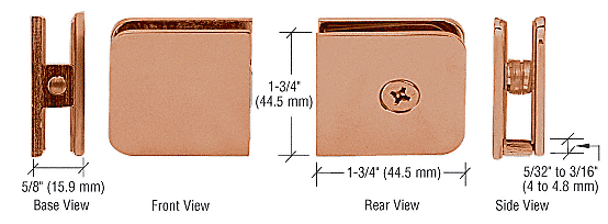CRL Brushed Copper Traditional Style Fixed Panel U-Clamp CRL UC77BC0