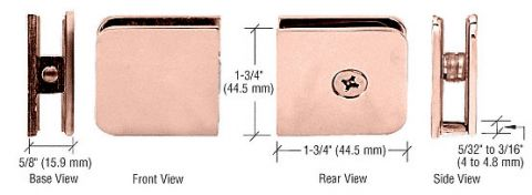 Polished Copper Traditional Style Fixed Panel U-Clamp - CRL UC77PC0