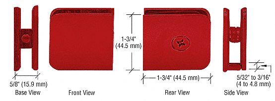 CRL Red Traditional Style Fixed Panel U-Clamp CRL UC77RD