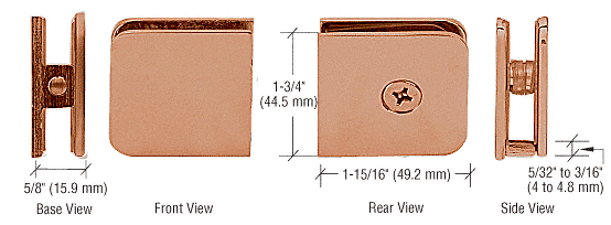 CRL Brushed Copper Oversized Fixed Panel U-Clamp CRL UC79BC0
