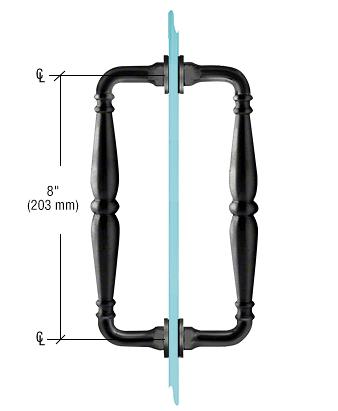 "CRL Black 8"" Victorian Style Back-to-Back Pull Handles CRL V1C8X8BL"