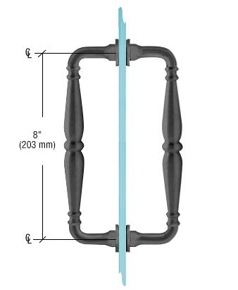 """CRL Matte Black 8"""" Victorian Style Back-to-Back Pull Handles CRL V1C8X8MBL"""