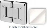 Brushed Nickel VAN Series Beveled with Round Edges 180 Degree Glass-to-Glass Hinge - VA781A_BN