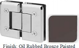 Oil Rubbed Bronze Painted VAN Series Beveled with Round Edges 180 Degree Glass-to-Glass Hinge - VA781A_ORB