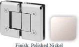 Polished Nickel VAN Series Beveled with Round Edges 180 Degree Glass-to-Glass Hinge - VA781A_PN