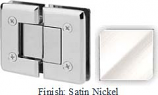 Satin Nickel VAN Series Beveled with Round Edges 180 Degree Glass-to-Glass Hinge - VA781A_SN