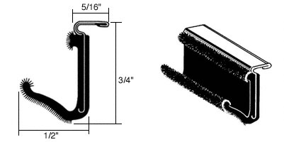 Rigid Flock Lining Rubber-Covered Weatherstrip 72 inch - CRL YMR219X72
