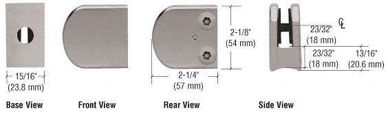 """CRL Brushed Nickel Z-Series Large Round Clamp for 1/4"""" Glass CRL Z106BN"""
