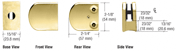 "CRL Brass Z-Series Large Round Clamp for 1/4"" Glass CRL Z106BR"