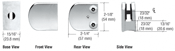 "CRL Chrome Z-Series Large Round Clamp for 1/4"" Glass CRL Z106CH"