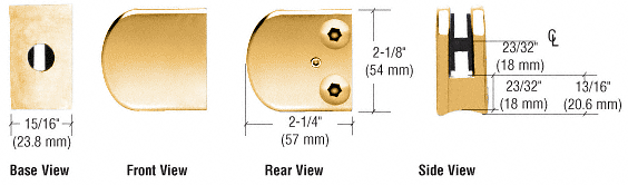 """CRL Gold Plated Z-Series Large Round Clamp for 1/4"""" Glass CRL Z106GP"""
