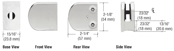 "CRL Satin Chrome Z-Series Large Round Clamp for 1/4"" Glass CRL Z106SC"