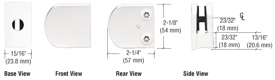 """CRL White Z-Series Large Round Clamp for 1/4"""" Glass CRL Z106W"""